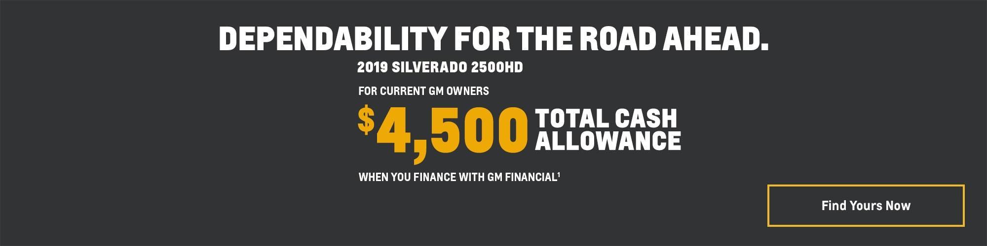 2019 Silverado 2500HD: $4,500 Total Cash Allowance