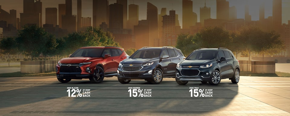 2020 Blazer: 12% of MSRP Cash Back 2020 Equinox: 15% of MSRP Cash Back 2020 Trax: 15% of MSRP Cash Back