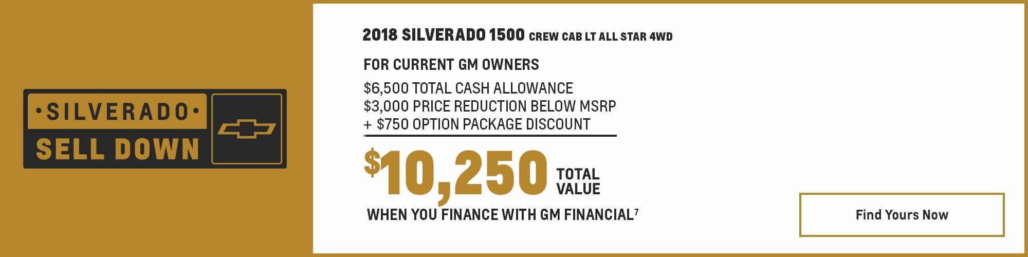 2018 Chevrolet Silverado 1500: $6,500 Total Cash Allowance