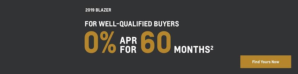 2019 Blazer: 0% APR for 60 Months