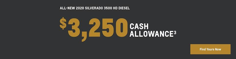 2020 Silverado 3500 HD DIESEL: $3,250 Cash Allowance