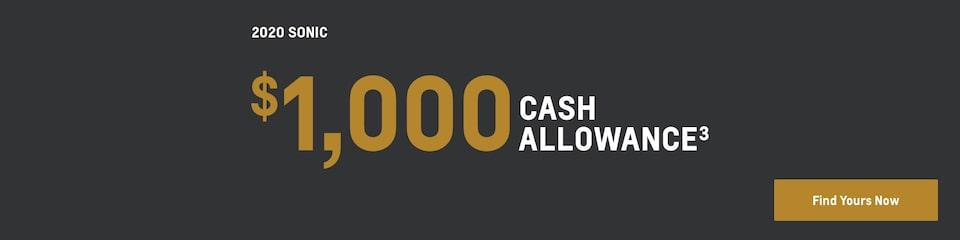 2020 Sonic: $1,000 Cash Allowance