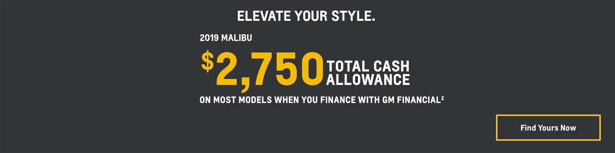 2019 Chevrolet Malibu: $2,750 Total Cash Allowance