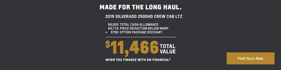 2019 Silverado 2500HD: $11,466 Total Value
