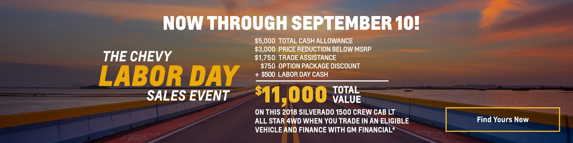 """ Labor Day Offers: Silverado 1500 Crew Cab LT All Star - $11,000 Total Value"""